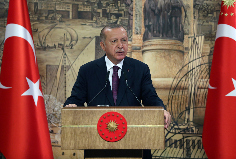 Turkey's President Tayyip Erdogan addresses the nation in Istanbul, Turkey, August 21, 2020. — PPO handout via Reuters