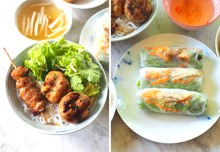 The 'bun cha' is done Hanoi-style and served with grilled chicken patties and chicken satay (left). 'Goi cuon' are light-tasting summer rolls stuffed with noodles, fresh herbs, chicken and prawns (right)