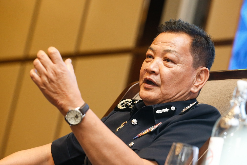 IGP Tan Sri Abdul Hamid Bador speaks to reporters after a police conference in George Town August 26, 2020. ― Picture by Sayuti Zainudin