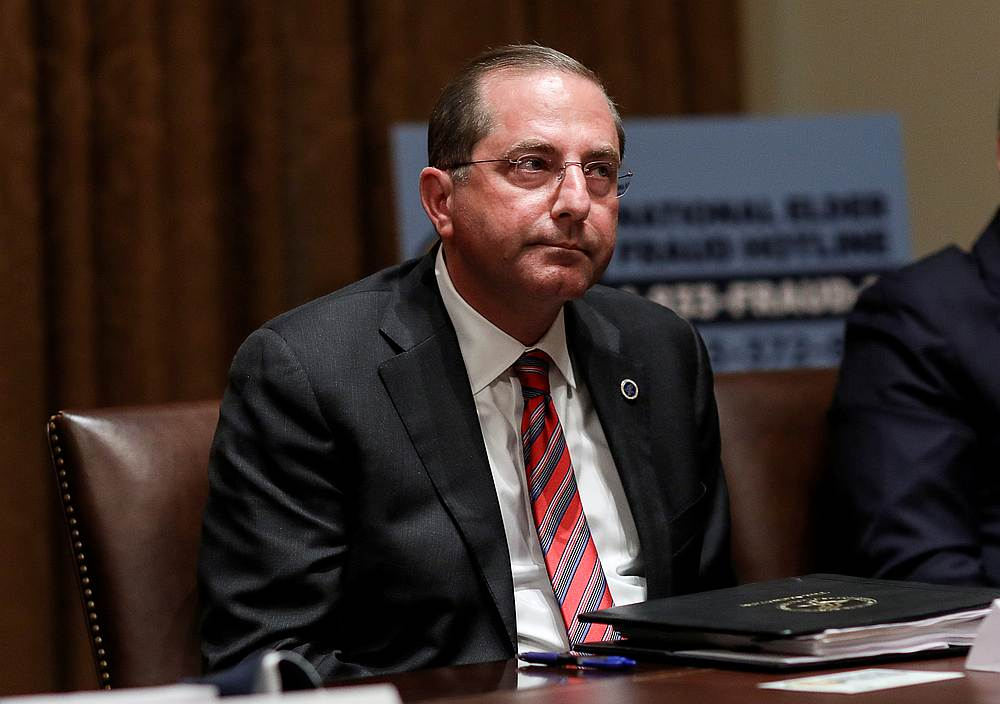 US Health and Human Services Secretary Alex Azar during a roundtable discussion on 'America's seniors' at the White House in Washington June 15, 2020. — Reuters pic