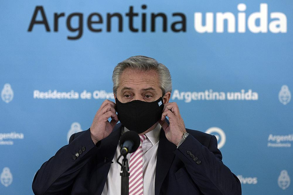Argentina's President Alberto Fernandez gestures during the announcement that Argentina and Mexico will produce and distribute an experimental virus vaccine, in Buenos Aires, Argentina August 12, 2020. — Pool pic via Reuters