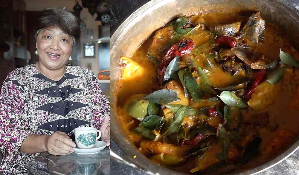 Azah's first 'Senduk Kayu' video shows a recipe for 'gulai tulang ikan talang masin' (salted queenfish fishbone curry). — Pictures from YouTube/Senduk Kayu