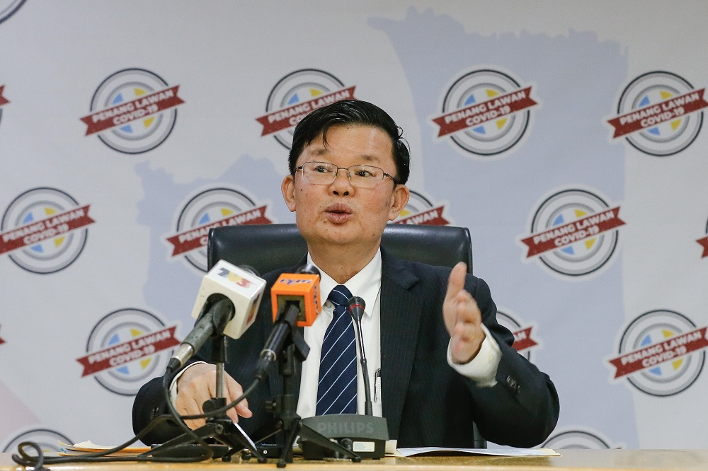Penang Chief Minister Chow Kon Yeow speaks during a press conference at Komtar in George Town August 12, 2020. ― Picture by Sayuti Zainudin