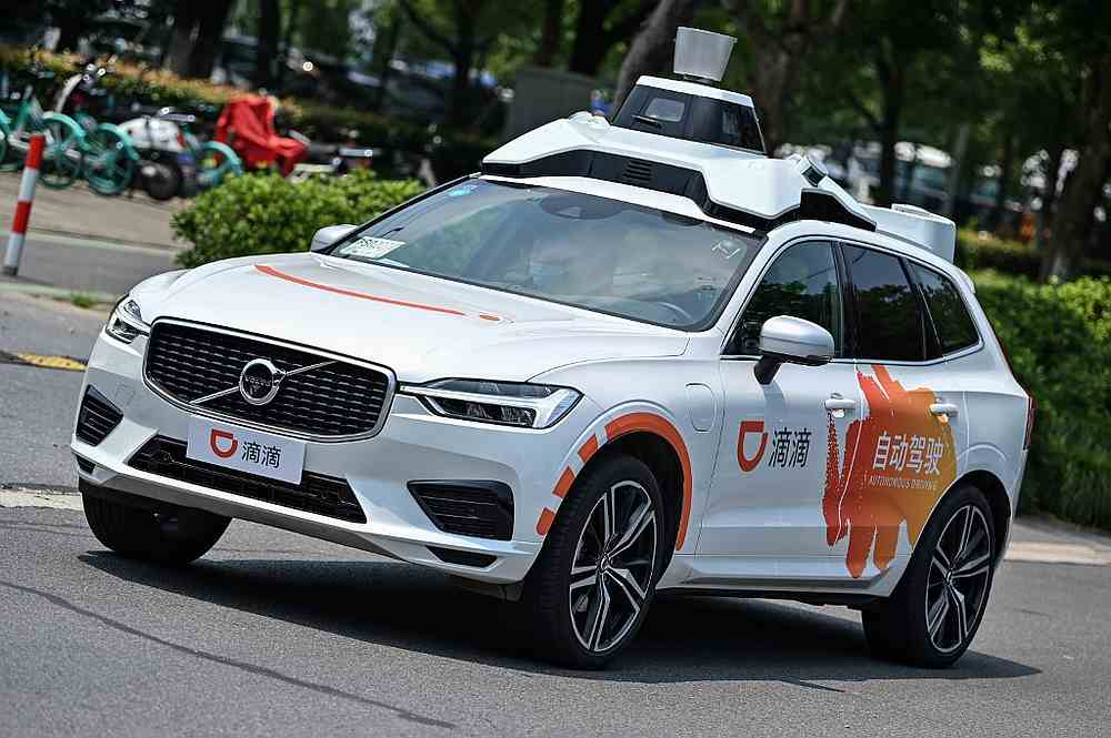 A Didi Chuxing autonomous taxi during a pilot test drive on the streets in Shanghai July 22, 2020. — AFP pic
