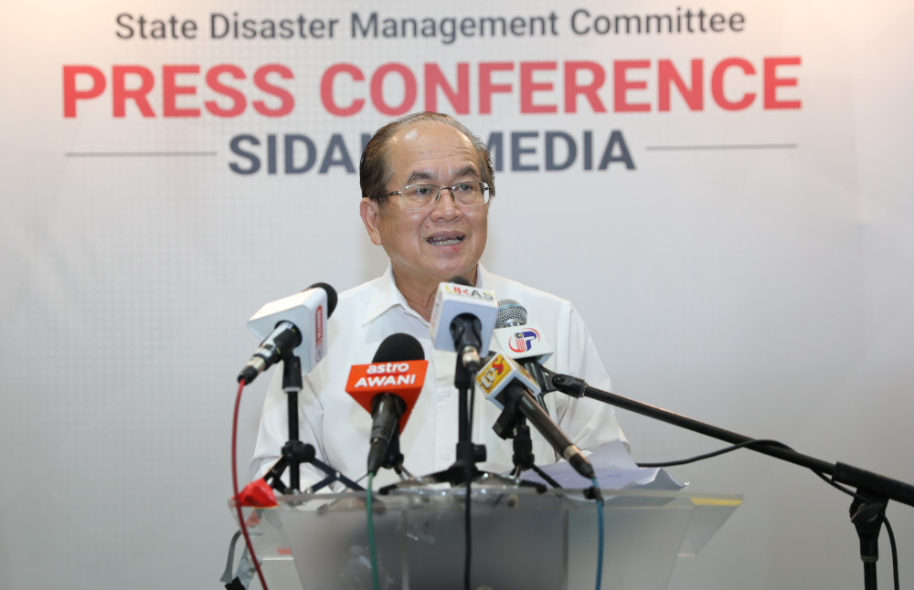 Sarawak Deputy Chief Minister Datuk Amar Douglas Uggah speaking to reporters August 10, 2020. — Picture courtesy of Sarawak Public Communications Unit (Ukas)
