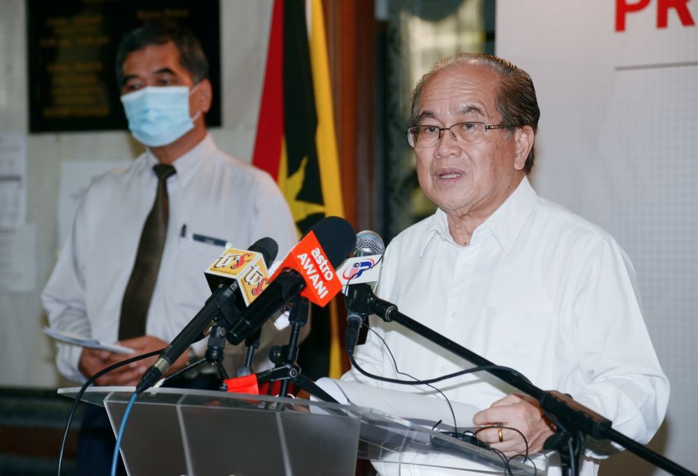 Sarawak Disaster Management Committee chairman Datuk Douglas Uggah speaks to reporters at a press conference August 18, 2020. ― Picture courtesy of the Sarawak Public Communications Unit