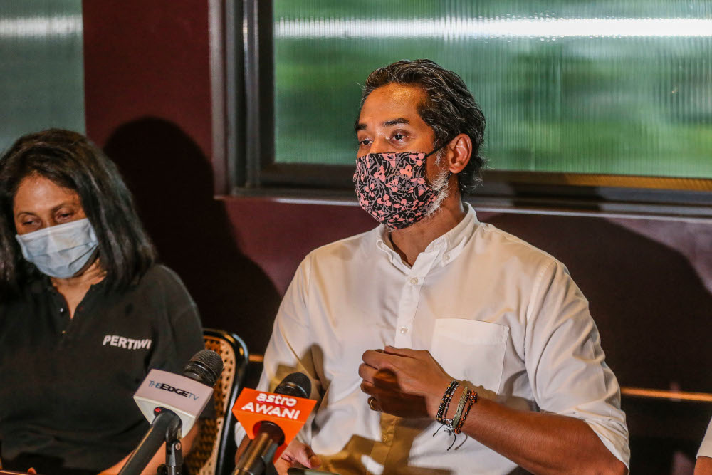 Minister of Science, Technology, and Innovation Khairy Jamaluddin speaks during a press conference in Kuala Lumpur August 14, 2020. — Picture by Firdaus Latif
