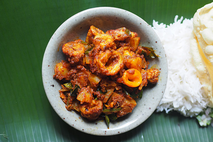 On the menu there are daily specials like this mildly spicy, tasty 'sotong sambal' served with potatoes.