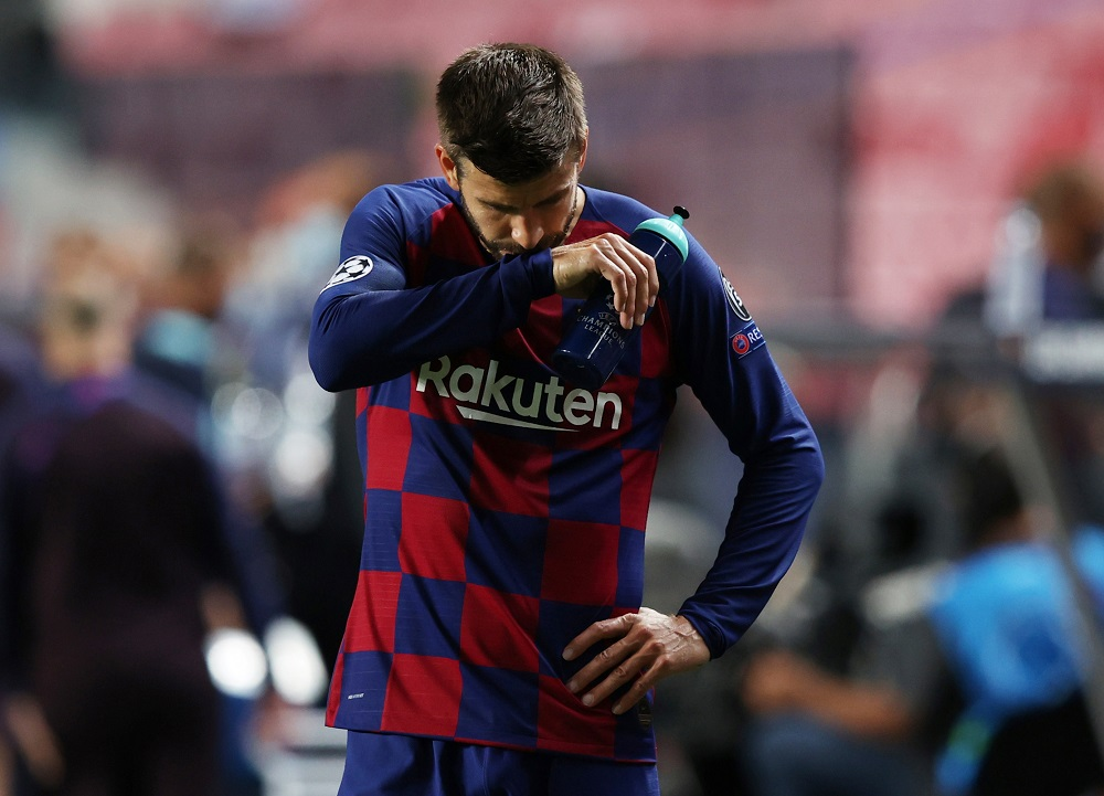Barcelona's Gerard Pique looks dejected after the match against Bayern Munich August 15, 2020. ― Reuters pic