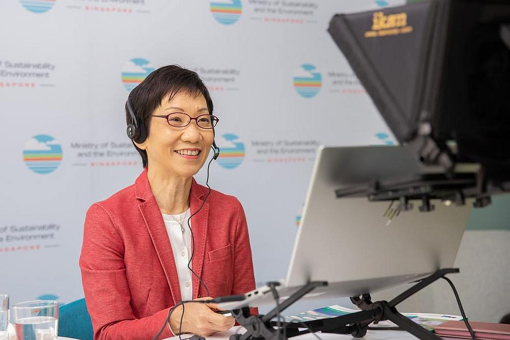 Grace Fu, Minister for Sustainability and the Environment, speaking at an online dialogue on August 12, 2020. — Picture courtesy of Ministry of Sustainability and the Environment via TODAY