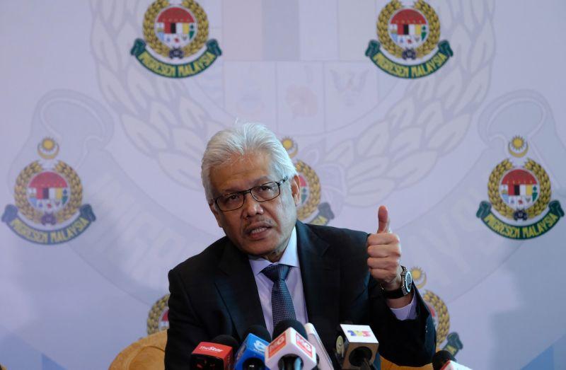 Home Minister Datuk Seri Hamzah Zainudin speaks during a press conference at the Putrajaya International Convention Centre August 13, 2020. — Bernama pic