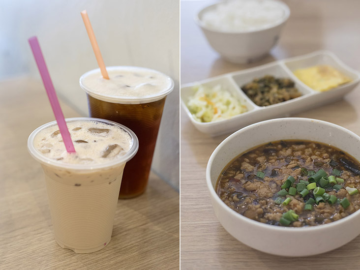 Thick milk tea and Oriental Beauty Red Tea (left). Tainan Braised Minced Pork Bento (right).