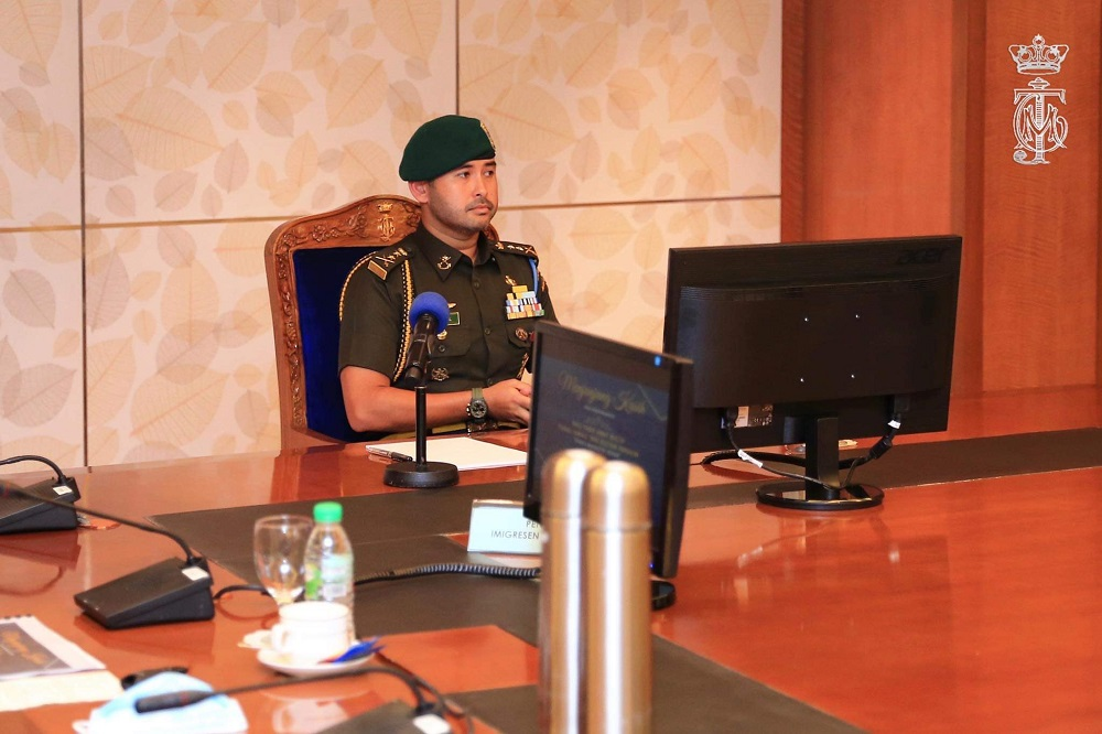 Johor Crown Prince Tunku Ismail Sultan Ibrahim was briefed on preparations for the conditional reopening of the border from August 17. ― Picture via Twitter/HRHJohorII