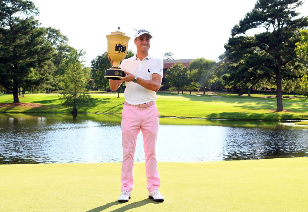 Justin Thomas poses with the World Golf Championships trophy after winning the WGC-FedEx St. Jude Invitational golf tournament at TPC Southwind in Memphis August 2, 2020. — Reuters pic