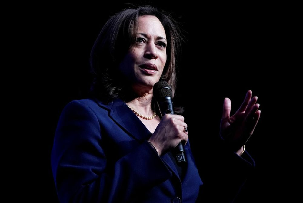 Senator Kamala Harris, Joe Biden's selection as his running mate, appears on stage at a First in the West Event at the Bellagio Hotel in Las Vegas, Nevada, US, November 17, 2019. — Reuters pic