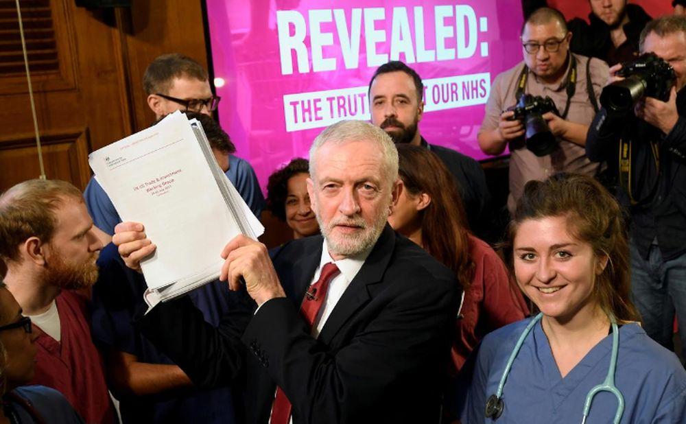 Der Oppositionsführer der britischen Labour Party, Jeremy Corbyn, hält Dokumente hoch, als er nach einer Pressekonferenz während eines allgemeinen Wahlkampfes in London am 27. November 2019 für ein Bild mit NHS-Mitarbeitern posiert. - Reuters Bild