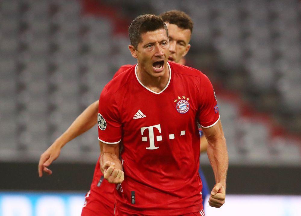 Bayern Munich's Robert Lewandowski (right) celebrates scoring their first goal against Chelsea at the Allianz Arena, Munich August 8, 2020. — Reuters pic