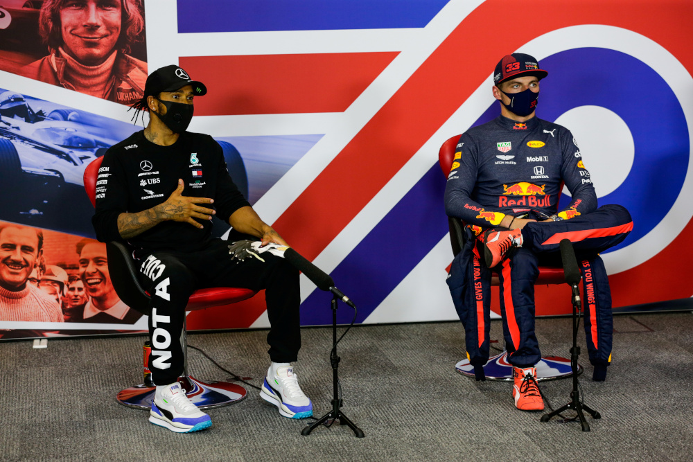Race winner Red Bull's Max Verstappen with second placed Mercedes' Lewis Hamilton during the press conference after the race in Silverstone August 9, 2020. — FIA handout pic via Reuters