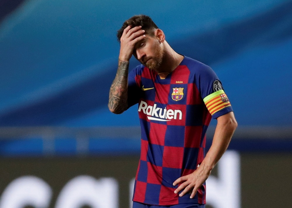 Barcelona's Lionel Messi looks dejected after the match against Bayern Munich August 15, 2020. ― Reuters pic
