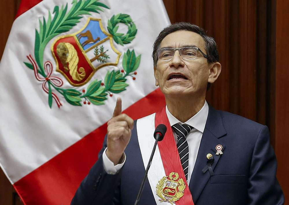 President Martin Vizcarra delivering the yearly Address to the Nation in Lima July 28, 2020. — Peruvian Presidency handout via AFP