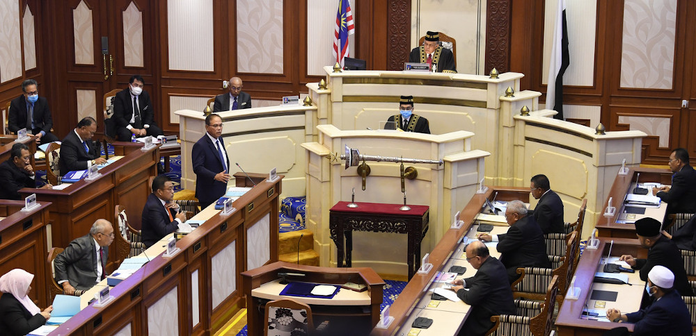 The Pahang State Legislative Assembly sitting at Wisma Sri Pahang in Kuantan, August 24, 2020. — Bernama pic