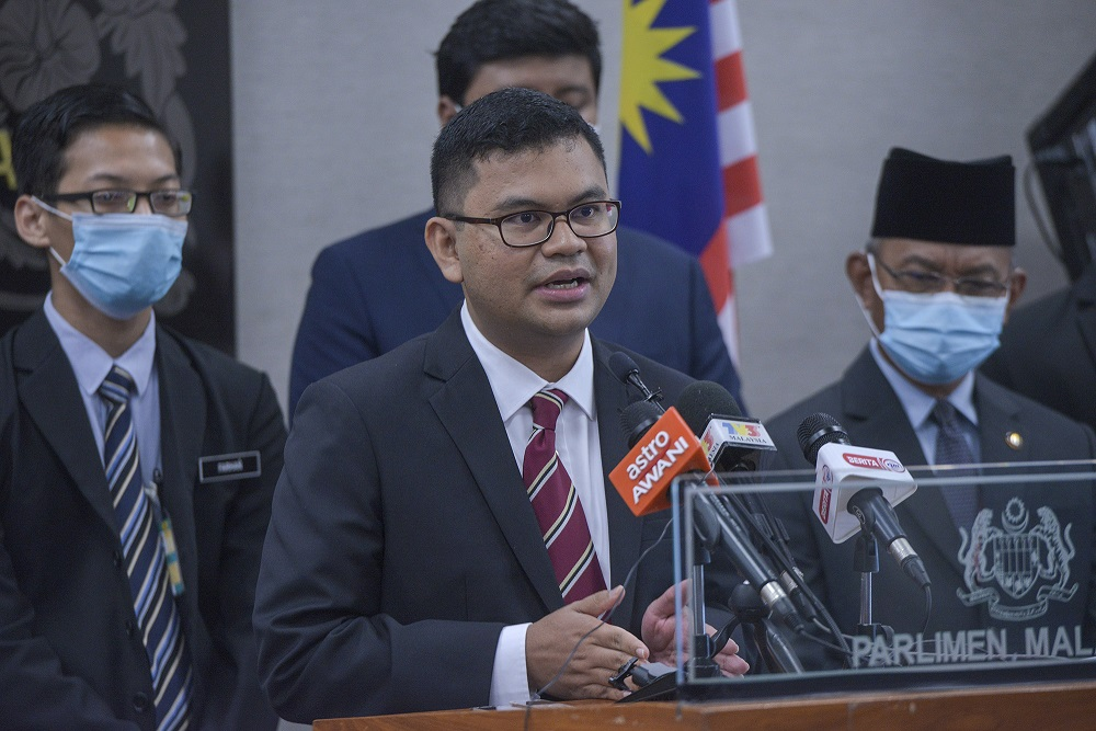 Johor Baru MP Akmal Nasrullah Mohd Nasir speaks during a press conference in Parliament August 12, 2020. — Picture by Shafwan Zaidon