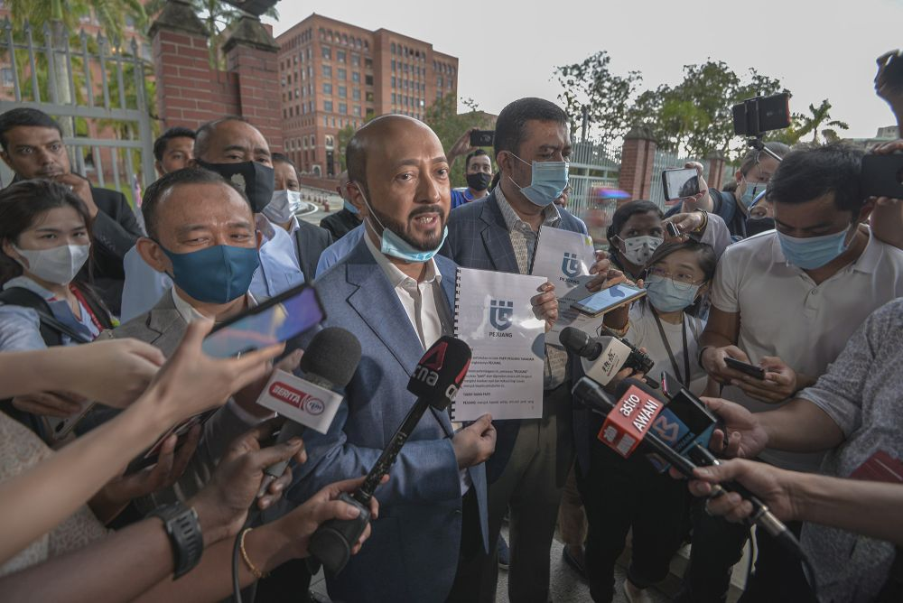 Datuk Seri Mukhriz Mahathir speaks to reporters after submitting the registration of Parti Pejuang Tahah Air at the Department of Registration of Societies in Putrajaya August 19, 2020. ― Picture by Shafwan Zaidon
