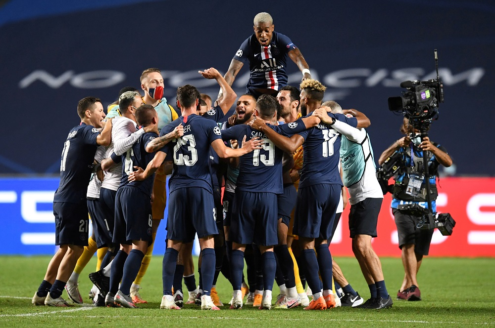 Paris St Germain players celebrate after the match against RB Leipzig August 19, 2020. ― Reuters pic