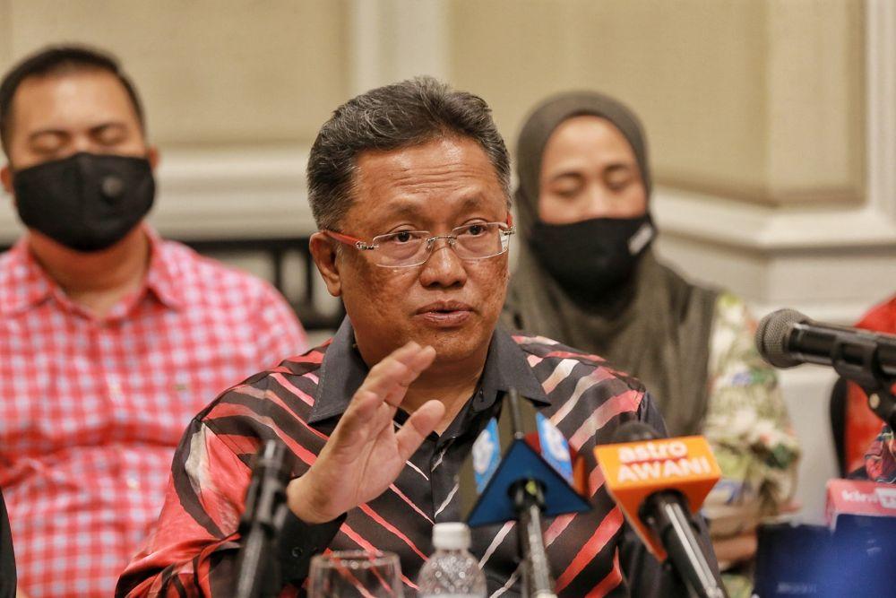 Datuk Seri Abdul Rahman Dahlan speaks during a press conference in Petaling Jaya August 18, 2020. ― Picture by Ahmad Zamzahuri