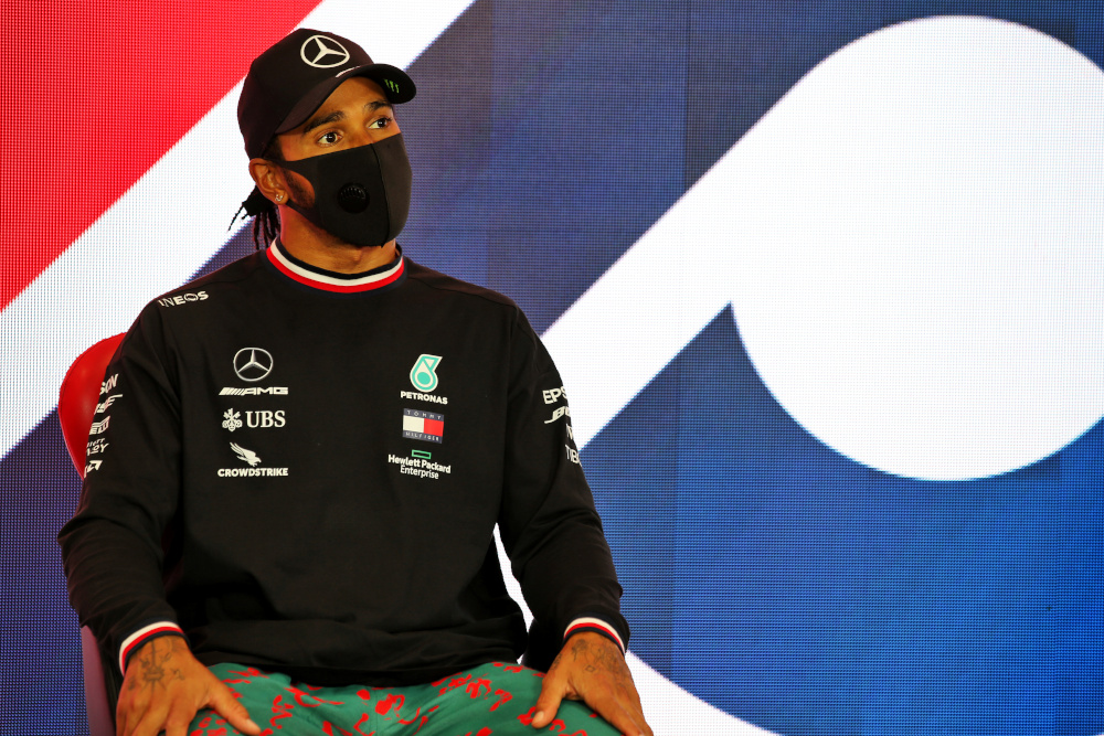 British Grand Prix race winner Mercedes' Lewis Hamilton during the press conference after the race at Silverstone Circuit, Silverstone August 2, 2020. — Picture by FIA/Handout via Reuters