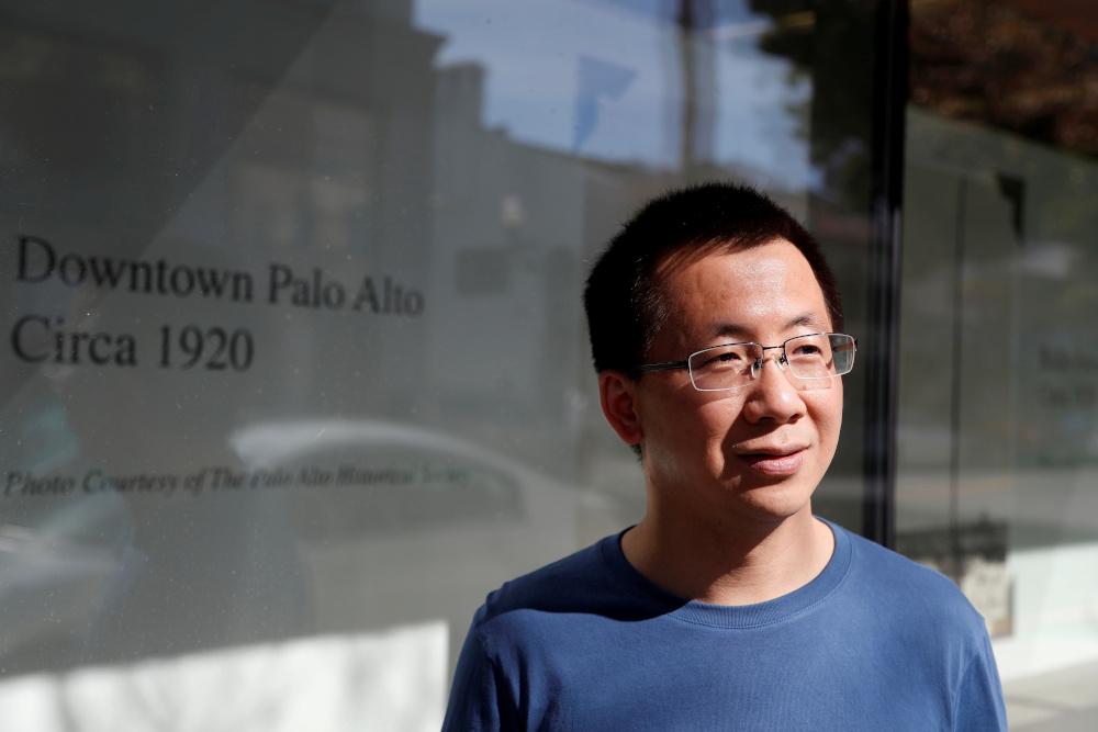 ByteDance founder and global CEO Zhang Yiming poses in Palo Alto, California March 4, 2020. — Reuters pic