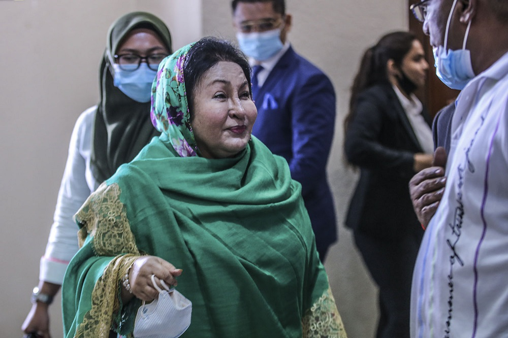 Datin Seri Rosmah Mansor is pictured at the Kuala Lumpur High Court August 5, 2020. ― Picture by Hari Anggara