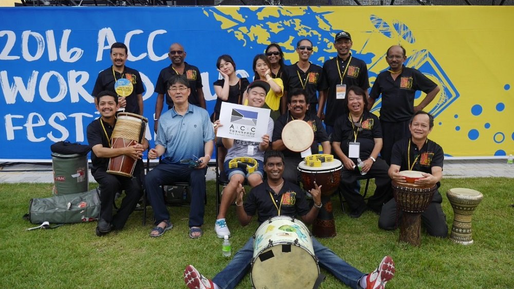 Sanjiv (in front) in Korea with his band for World Festival in 2016. ― Picture courtesy of Aseana Percussion Unit (A.P.U)