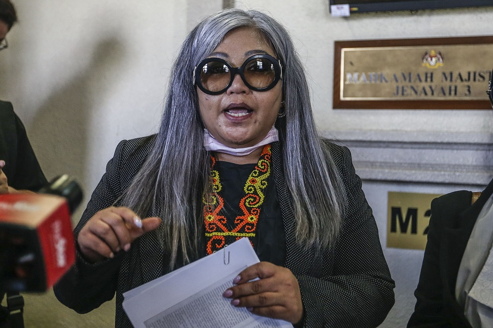 Human rights activist Siti Kasim is pictured at the Kuala Lumpur Court Complex August 21, 2020. ― Picture by Firdaus Latif