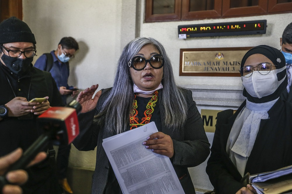Human rights activist Siti Kasim is seen at the Kuala Lumpur Court Complex August 21, 2020. ― Picture by Firdaus Latif