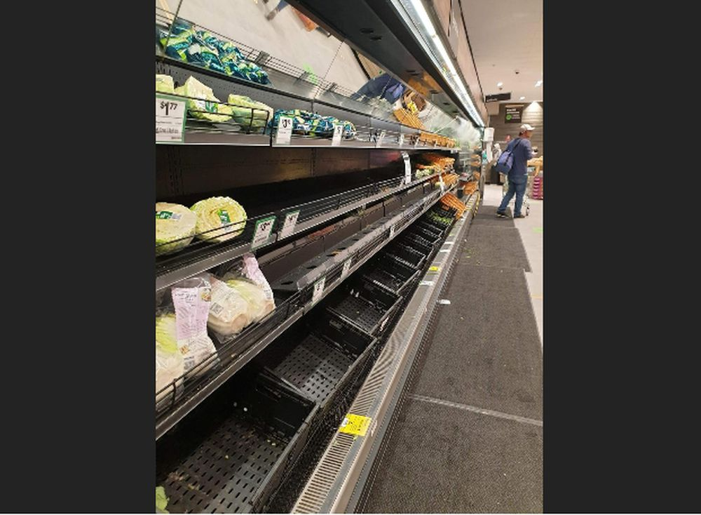Near empty shelves are seen at the vegetable section of a supermarket amid the coronavirus disease outbreak in Melbourne, Victoria, Australia, in this August 2, 2020 photo obtained from social media. via Reuters