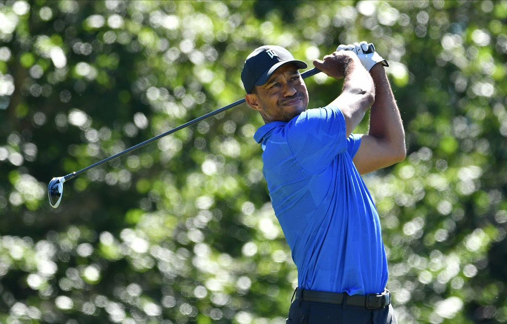 Tiger Woods watches his tee shot on the 17th hole during the first round of The Northern Trust golf tournament at TPC of Boston August 20, 2020. ― Reuters pic