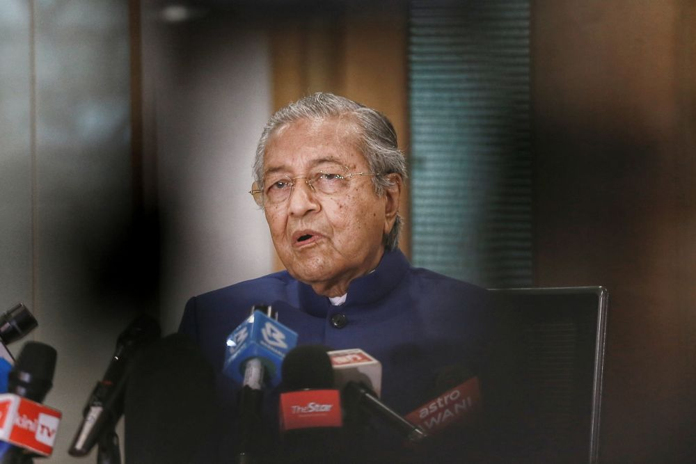 Tun Dr Mahathir Mohamad speaks to reporters during a press conference at Yayasan Al Bukhary in Kuala Lumpur August 7, 2020. — Picture by Ahmad Zamzahuri
