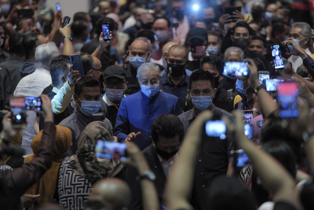Tun Dr Mahathir Mohamad arrives for a media conference at the Pullman Kuala Lumpur in Bangsar August 7, 2020. — Picture by Shafwan Zaidon