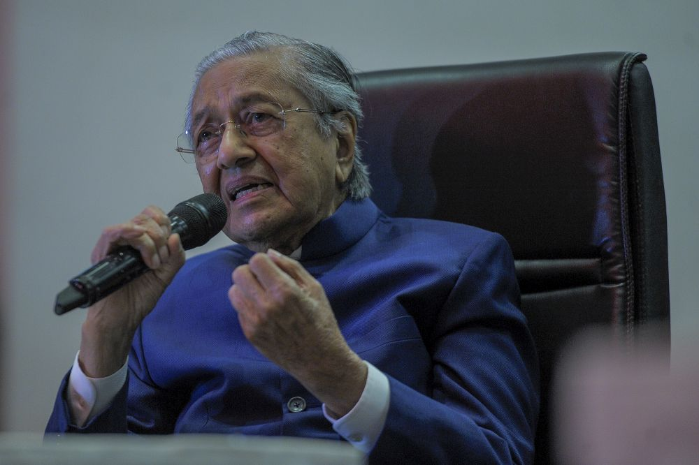 Tun Dr Mahathir Mohamad speaks to reporters during a media conference at the Pullman Kuala Lumpur in Bangsar August 7, 2020. — Picture by Shafwan Zaidon