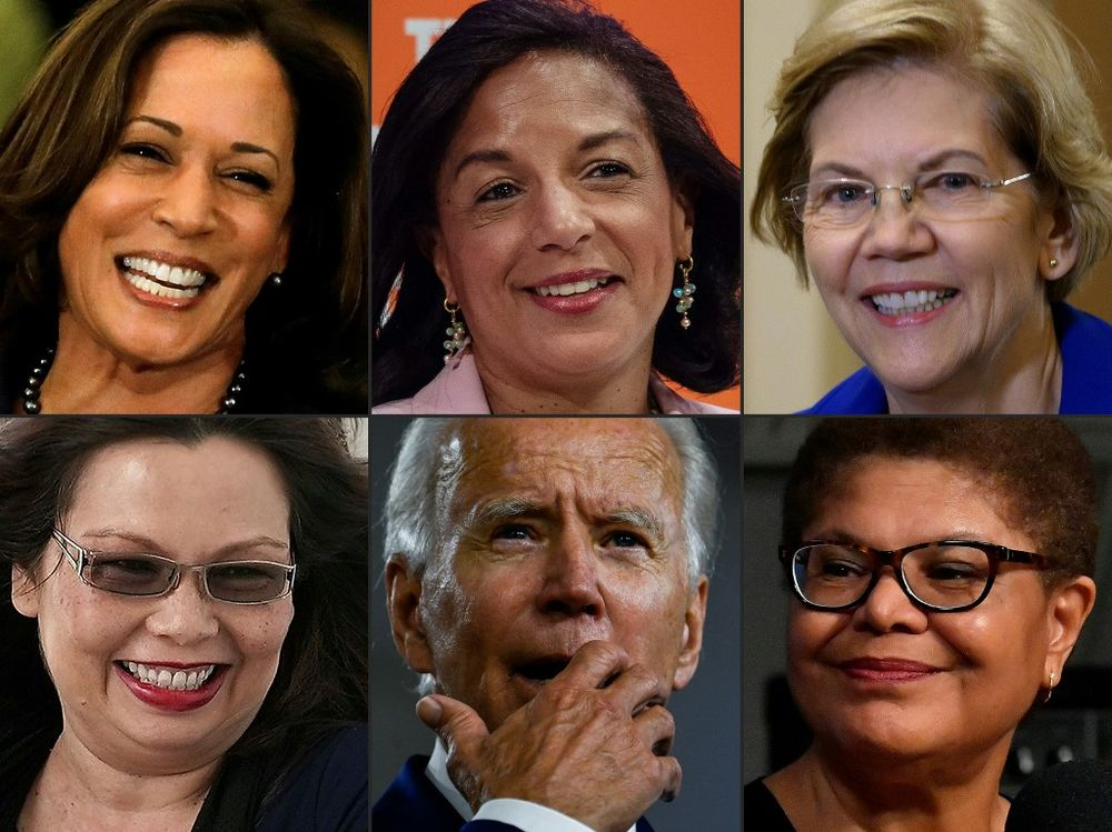 This combination of pictures created on July 31, 2020 shows California Senator Kamala Harris in Detroit, Michigan on March 9, 2020, former National Security Advisor Susan Rice speaks in Washington, DC, on September 25, 2019, US Senator Elizabeth Warren (D-MA) in Washington, DC on January 24, 2019, US Sen. Tammy Duckworth (D-IL)on Capitol Hill in Washington, DC, US Democratic presidential candidate and former Vice President Joe Biden in Wilmington, Delaware on July 28, 2020 and Rep Karen Bass (D-CA) in Washington, DC. As the rumours and leaks fly, analysts are working overtime to predict who Joe Biden will pick as his running mate for the November 3 elections. — AFP pic