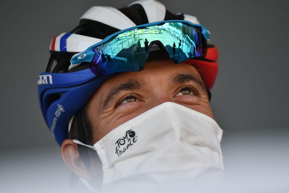 FDJ rider Thibaut Pinot of France before the start of the Stage 6 race of the Tour de France, September 3, 2020. — Pool via Reuters/Marco Bertorello
