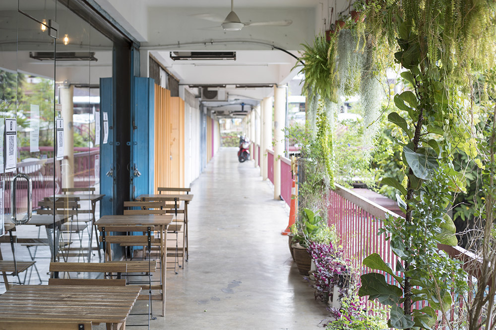 "The colourful ""rainbow corridor"" outside Ebony & Ivory provides an oasis of calm."