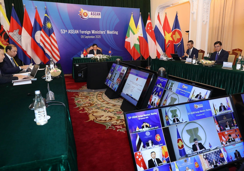 Vietnam's Deputy Prime Minister and Foreign Minister Pham Binh Minh chairs a video meeting with foreign ministers from Asean countries in Hanoi, Vietnam September 9, 2020. — VNA pic via Reuters