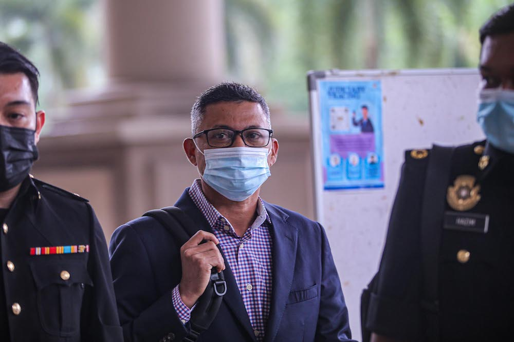 Former 1MDB CEO Mohd Hazem Abd Rahman at the Kuala Lumpur Court Complex, September 14, 2020. ― Picture by Hari Anggara