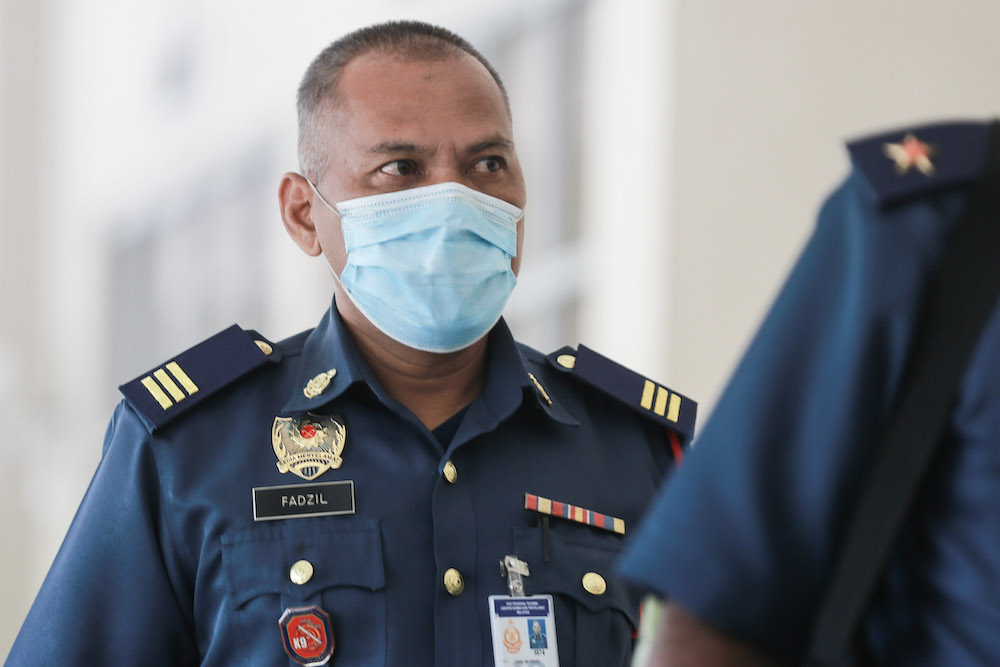 Senior Fire Officer 1 Fadzil Arshad is pictured at Seremban Coroner's Court, September 14, 2020. — Picture by Ahmad Zamzahuri