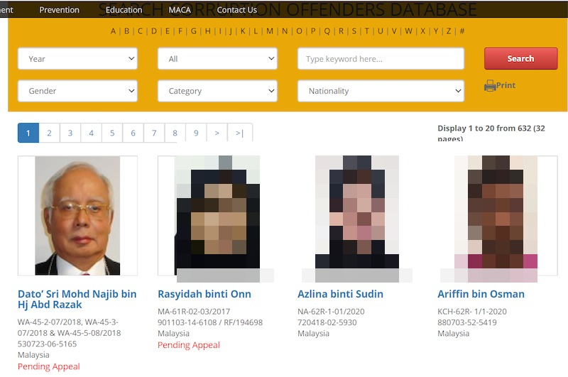 Screengrab of MACC website's Corruption Offenders Database which features former prime minister Datuk Seri Najib Razak. — Screengrab from MACC website