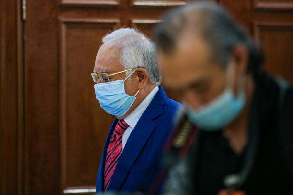 Former prime minister Datuk Seri Najib Razak is pictured at Kuala Lumpur High Court, September 14, 2020. — Picture by Hari Anggara