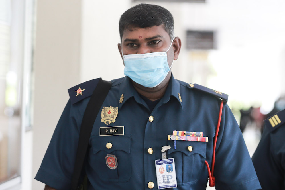 Leading Fire Officer P. Ravi is pictured at Seremban Coroner's Court, September 14, 2020. — Picture by Ahmad Zamzahuri