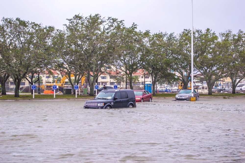 Vehicles are seen amid floodwaters caused by Hurricane Sally in Pensacola, Florida, US September 16, 2020, in this image obtained via social media. — Instagram@j.backpacker via Reuters